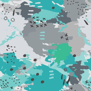 Jessee's Abstract Experiment #001 : Teal & Grey