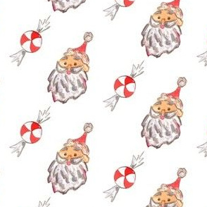 santa  and peppermint candy