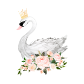 Swan with Roses in White