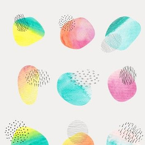 Watercolor spots and doodles