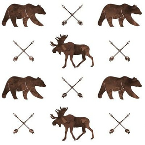 moose, bear, and arrows  || watercolor brown