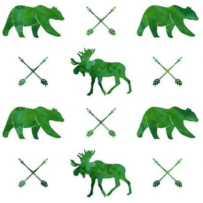 moose, bear, and arrows || watercolor green