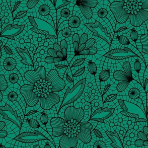 Floral lace (black on green)