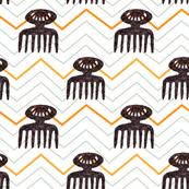African Comb Symbol // feminine // zigzag // herringbone