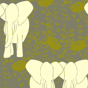 Yellow elephants on floral background