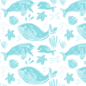 Whale Family Light Blue