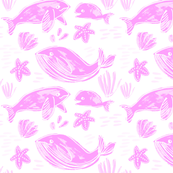 Whale Family Light Pink