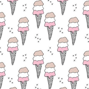 Sweet scandinavian summer ice cream cones in black and white and soft pink pastels MEDIUM