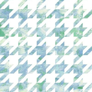 painted houndstooth - blue and green