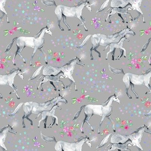 Tiny Unicorns and Stars on Soft Grey