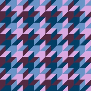 harlequin houndstooth - twilight mauve and blue
