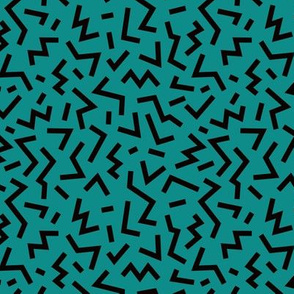 Cool geometric eighties retro confetti style memphis zigzag strokes teal fall