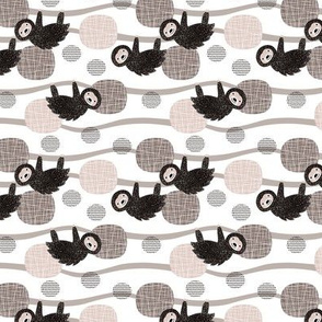 Adorable little baby sloth print jungle trees pura vida collection gender neutral beige black and white XS