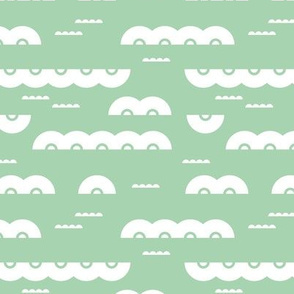 Abstract water and clouds soft scandinavian fabric design in mint