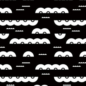 Abstract water and clouds soft scandinavian fabric design in black and white