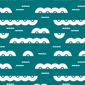 Abstract water and clouds soft scandinavian fabric design in teal
