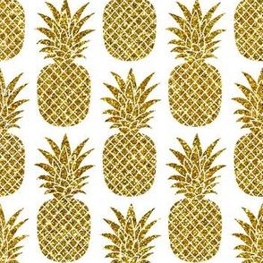 gold glitter pineapples – white, small