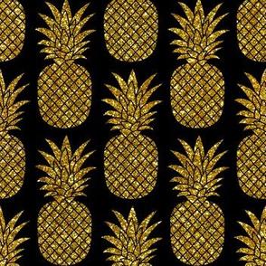 gold glitter pineapples – black, small