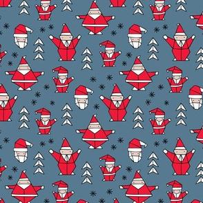 Origami decoration stars seasonal geometric december holiday and santa claus print design red blue SMALL
