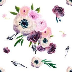 """7"""" Dark Floral Print in White"""