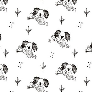 Cute koala tree baby adorable Australian themes for summer and winter black and white