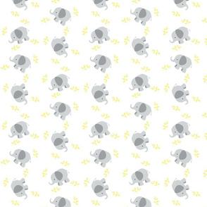 Elephants Around SMALL - Gray Yellow leaves