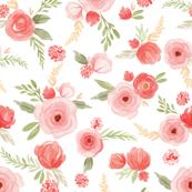 Coral floral watercolor