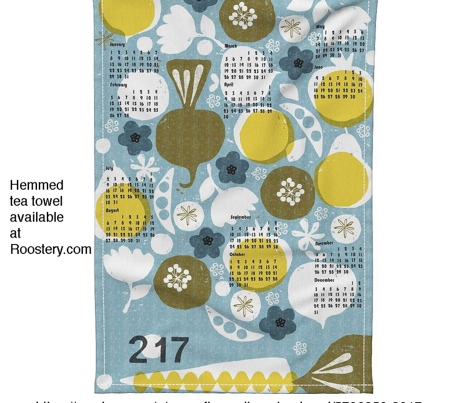 2017 produce tea towel calendar - 27 inch for Roostery