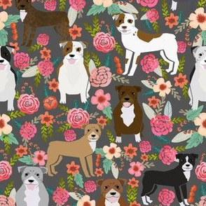 pitbull florals flowers dog pitbull terrier dogs dog fabric cute dog dogs pitbull florals