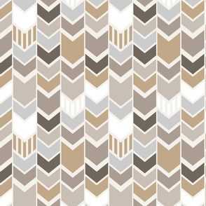 Gray Tan Cream Chevron