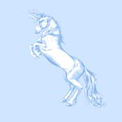 Rearing Unicorn Serenity Blue