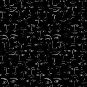 mono faces: black/charcoal