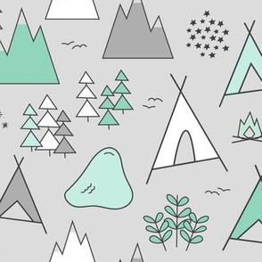 Adventure - Light Gray & Mint