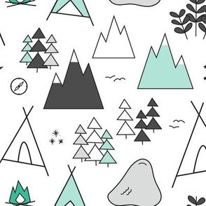 Adventure - Mint Turquoise & Grays On White