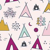 Adventure - Raspberry Mustard & Mint on Pink