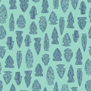 arrowheads - navy on aqua