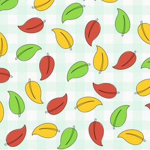 Autumn leaves - bold, fall, check,