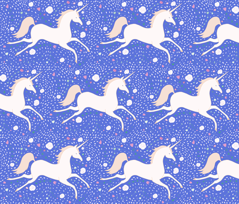 Dancingunicorn in night sky fabric fabricandfairytales for Night sky print fabric