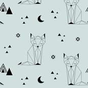 Sleepy Fox - Blue Gray Background