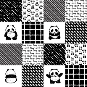pandamonium patchwork wholecloth || monochrome nursery fabric