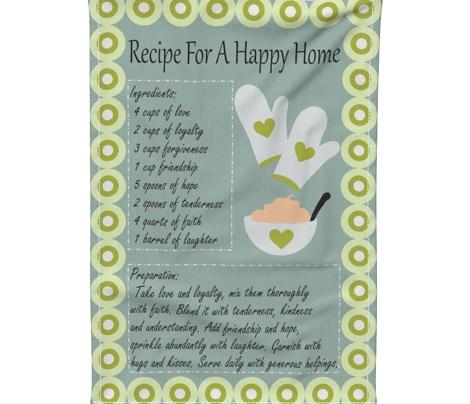 Recipe for a Happy Home Tea Towel
