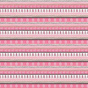 Christmas Xmas Stripes Snowflakes Trees Black & White Pink Tiny Small