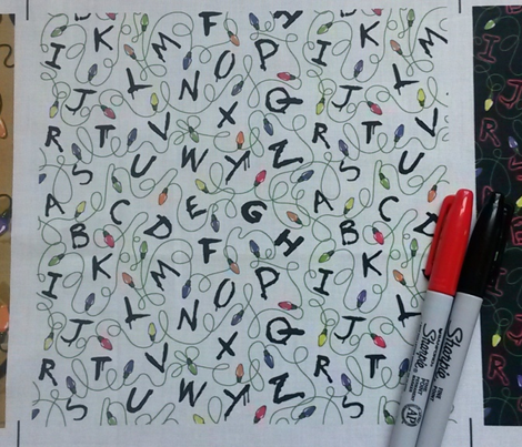 Smaller version, Alphabet with lights on white
