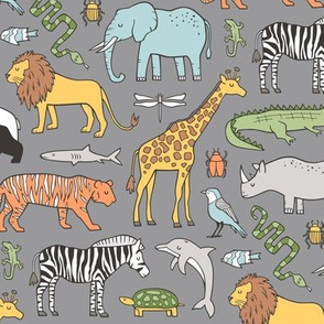 Zoo Jungle Animals Doodle with Panda, Giraffe, Lion, Tiger, Elephant, Zebra,  Birds on Dark Grey