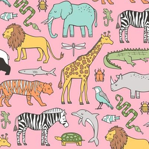 Zoo Jungle Animals Doodle with Panda, Giraffe, Lion, Tiger, Elephant, Zebra,  Birds on Pink