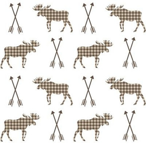 moose and arrows checks outdoors fabric kids nursery baby brown and tan
