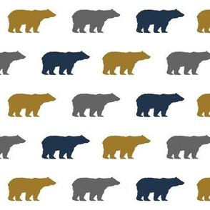 bears gold navy grey bear nursery boy kids fabric