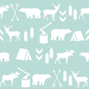 mint outdoors fabric kids deer moose bear camping wood lumberjack