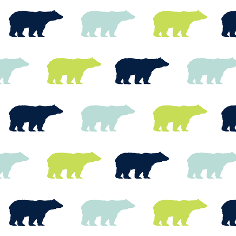 Bears bear fabric nursery baby boy navy mint and lime for Boy nursery fabric