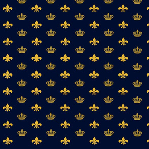 Navy Crowns and Fleur De Lis